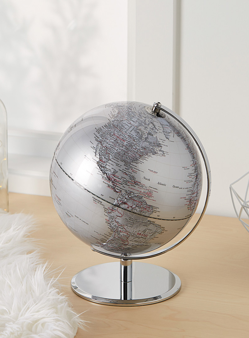 Modern metallic globe - Stylish Objects & Decor Accents - Silver
