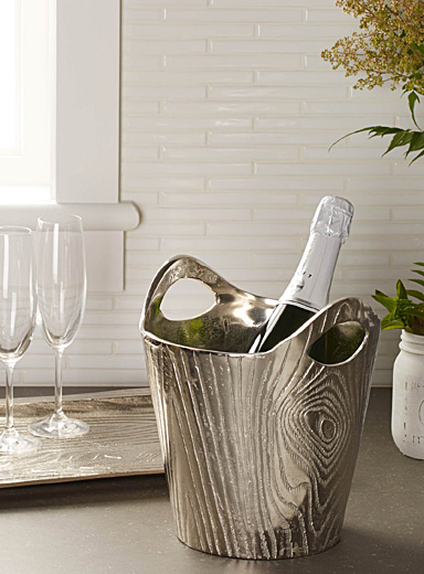 Metallic bark wine bucket