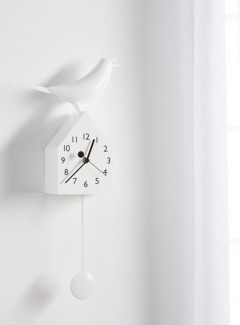 Torre & Tagus White Moving white birdhouse clock
