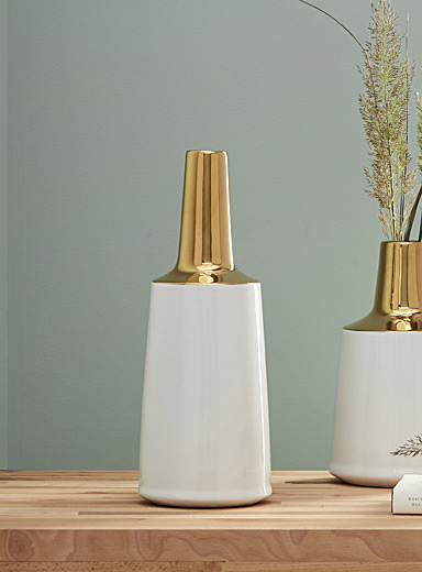 Large metallic accent ceramic vase