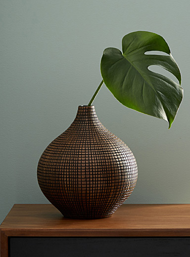 Small etched-check vase