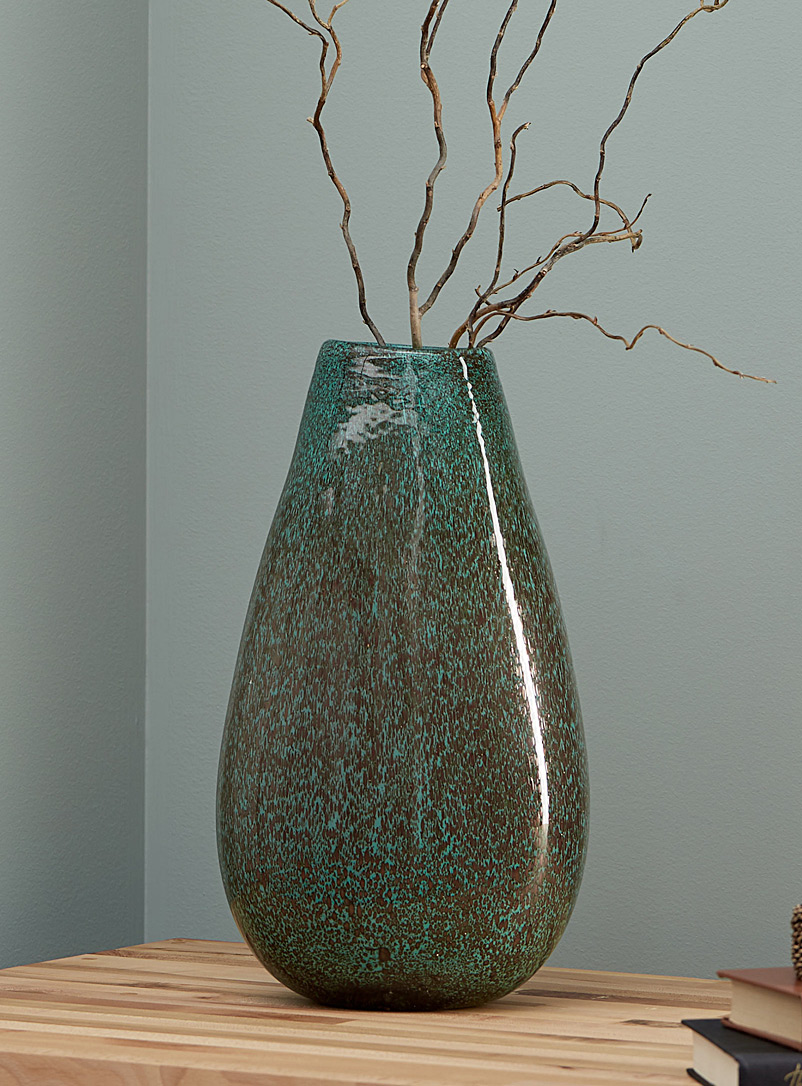 Torre & Tagus Kelly Green Large flecked glass vase