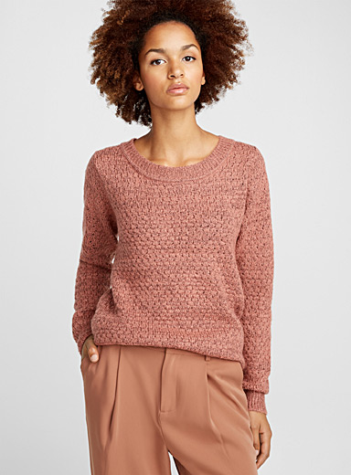 Two-tone mixed knit sweater
