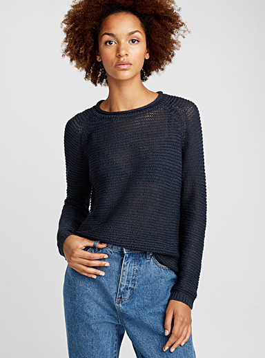 Asymmetric rolled-neck sweater