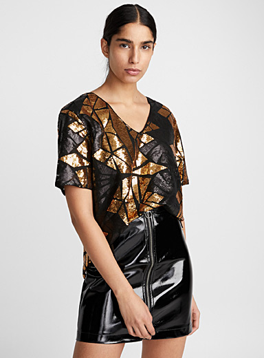 Sequined stained-glass blouse