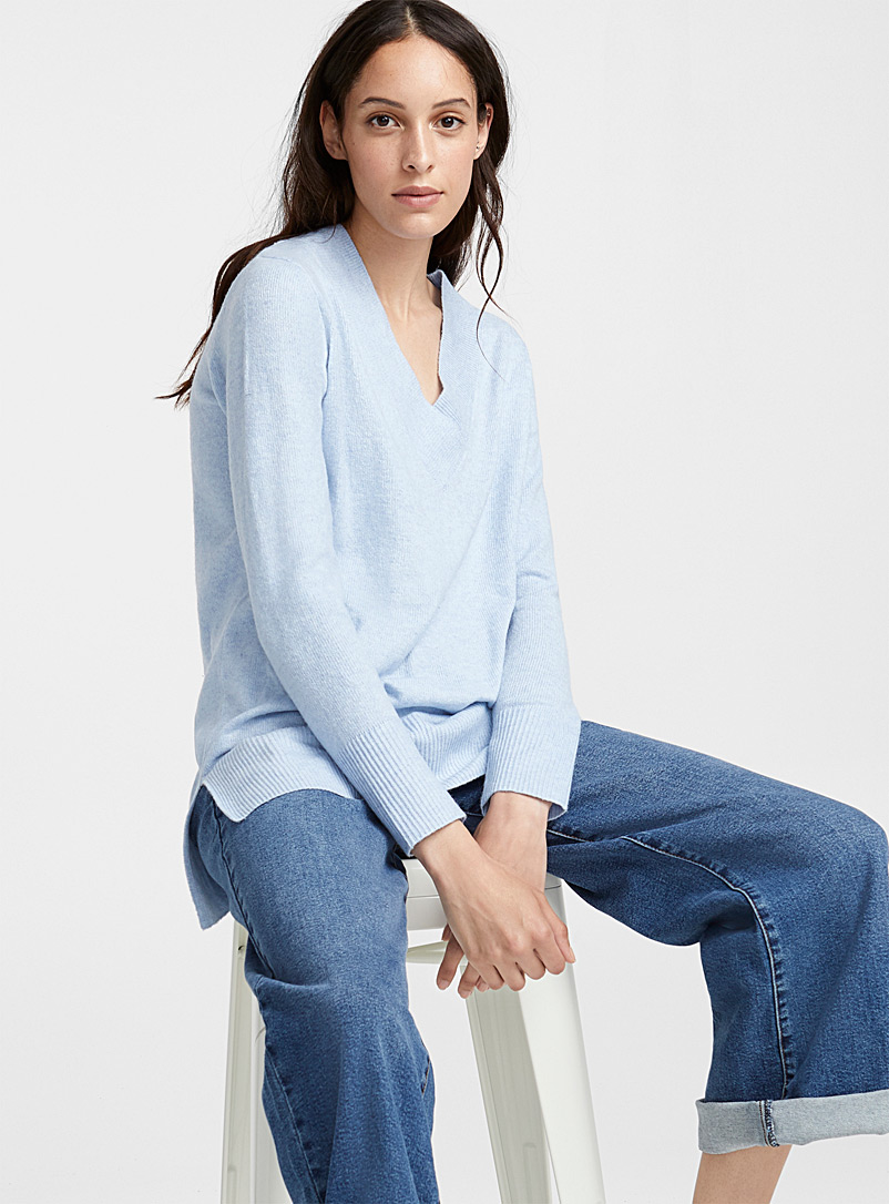 Ribbed V-neck tunic - Sweaters - Baby Blue