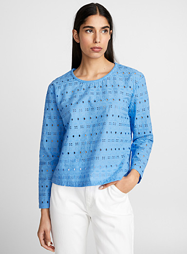 La blouse broderie anglaise cyan