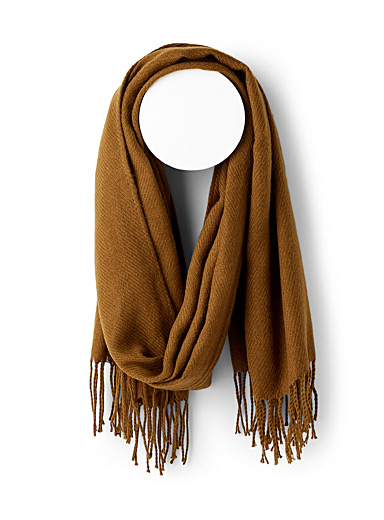 ICHI Medium Brown Monochrome fringed scarf for women