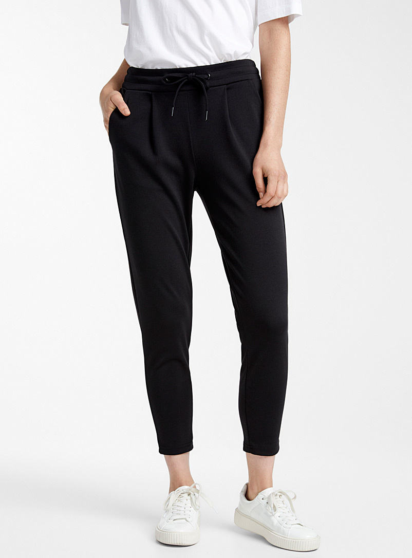 ICHI Black Structured jersey dress pant for women