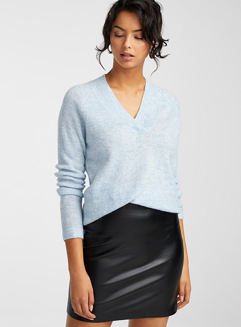 ICHI Baby Blue Crossover V-neck sweater for women