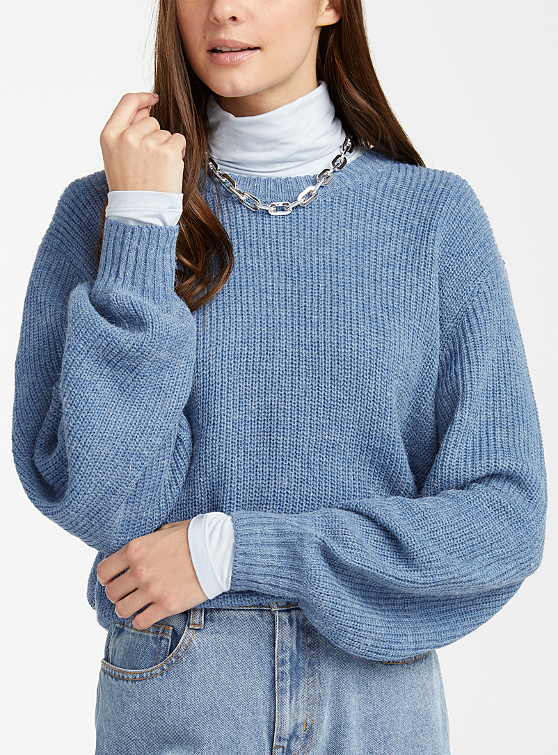 ICHI Baby Blue Heather ribbed sweater for women