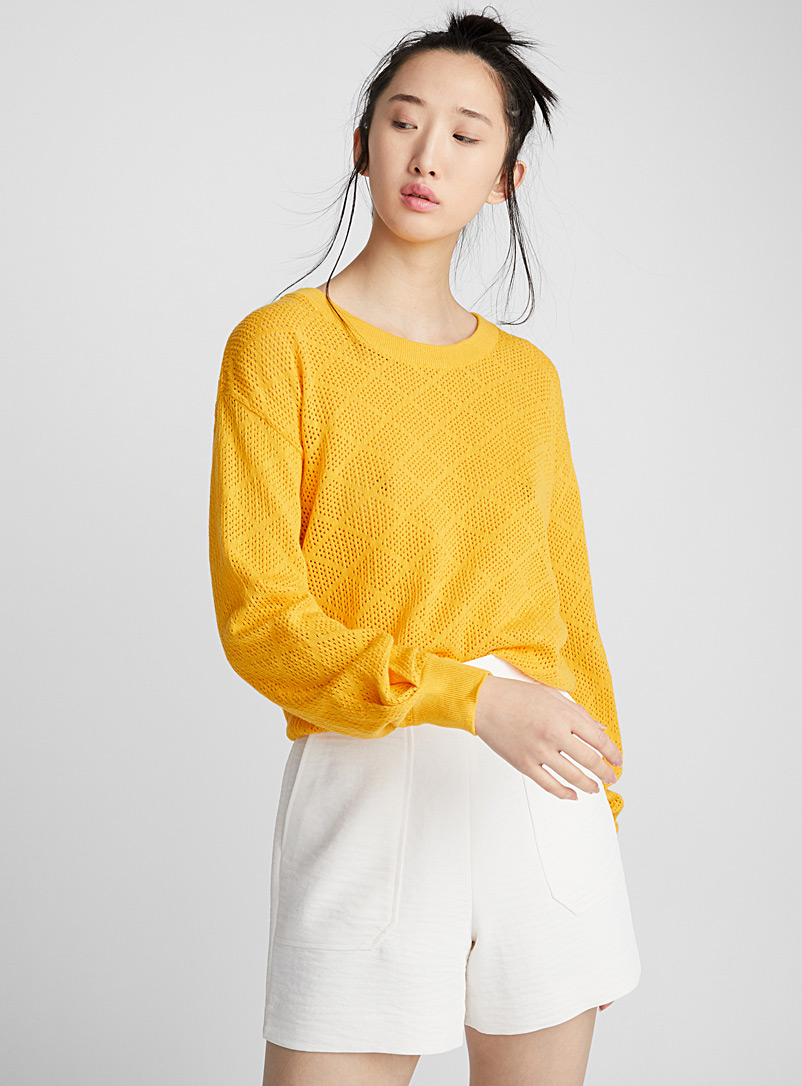 Geometric openwork sweater - Sweaters - Dark Yellow