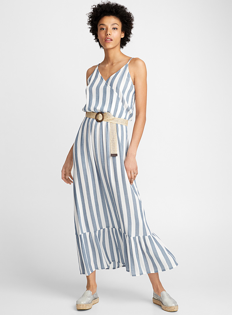 Soft stripe maxi dress - Fit & Flare - Patterned White