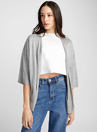 Wide-sleeve open cardigan