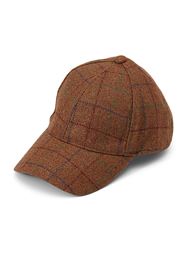 Windowpane check baseball cap