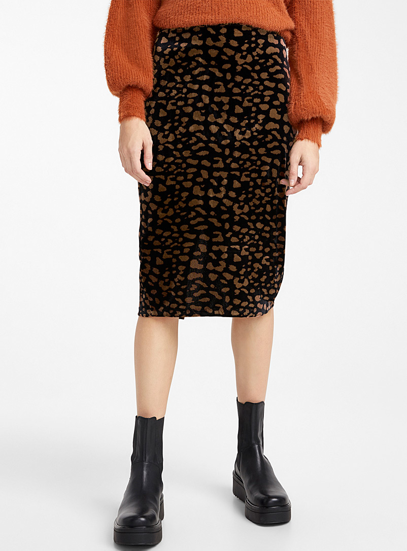 Leopard velvet midi skirt - Midi - Patterned Brown