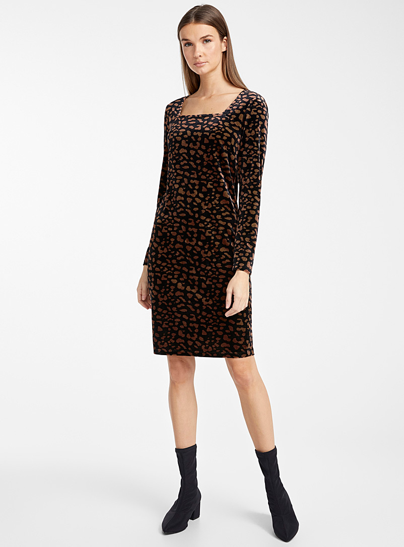 Leopard velvet fitted dress - Bodycon - Patterned Brown