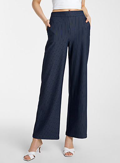 ICHI Patterned Blue Banker stripe wide-leg pant for women