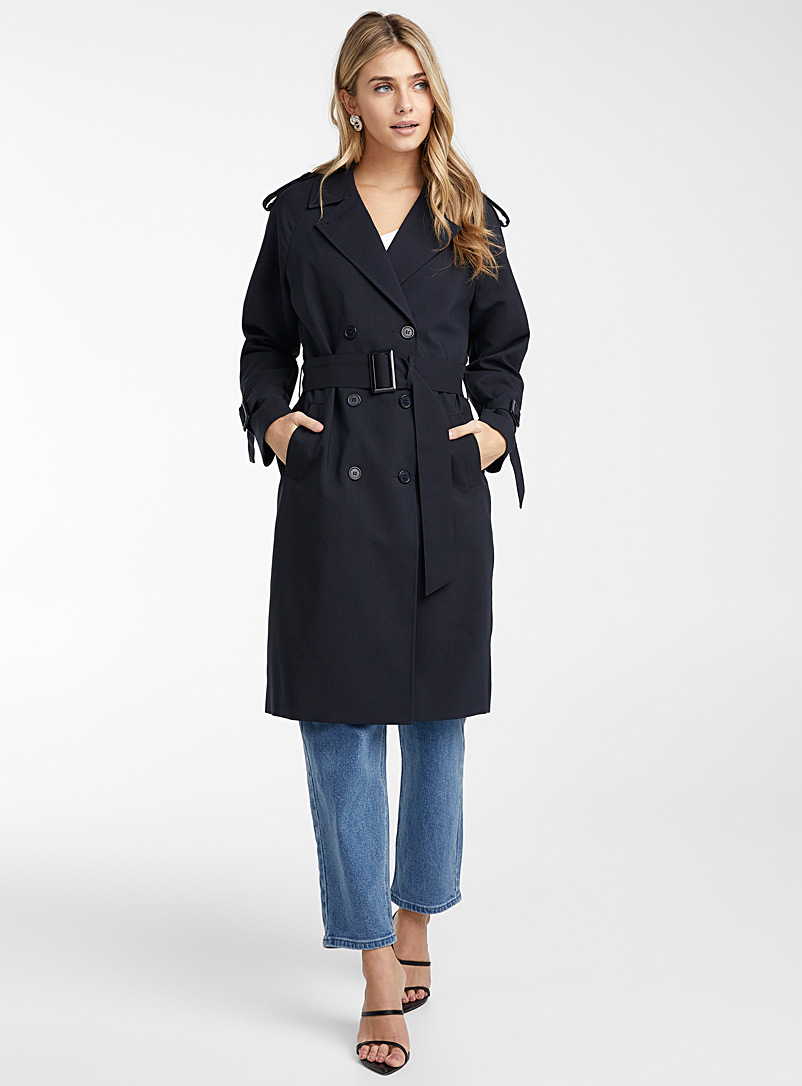ICHI Marine Blue Double-breasted navy trench for women