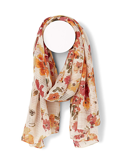 ICHI Assorted Poetic floral scarf for women