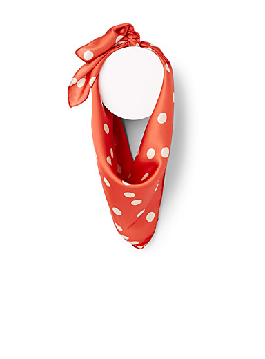ICHI Patterned Orange Dotted satiny scarf for women