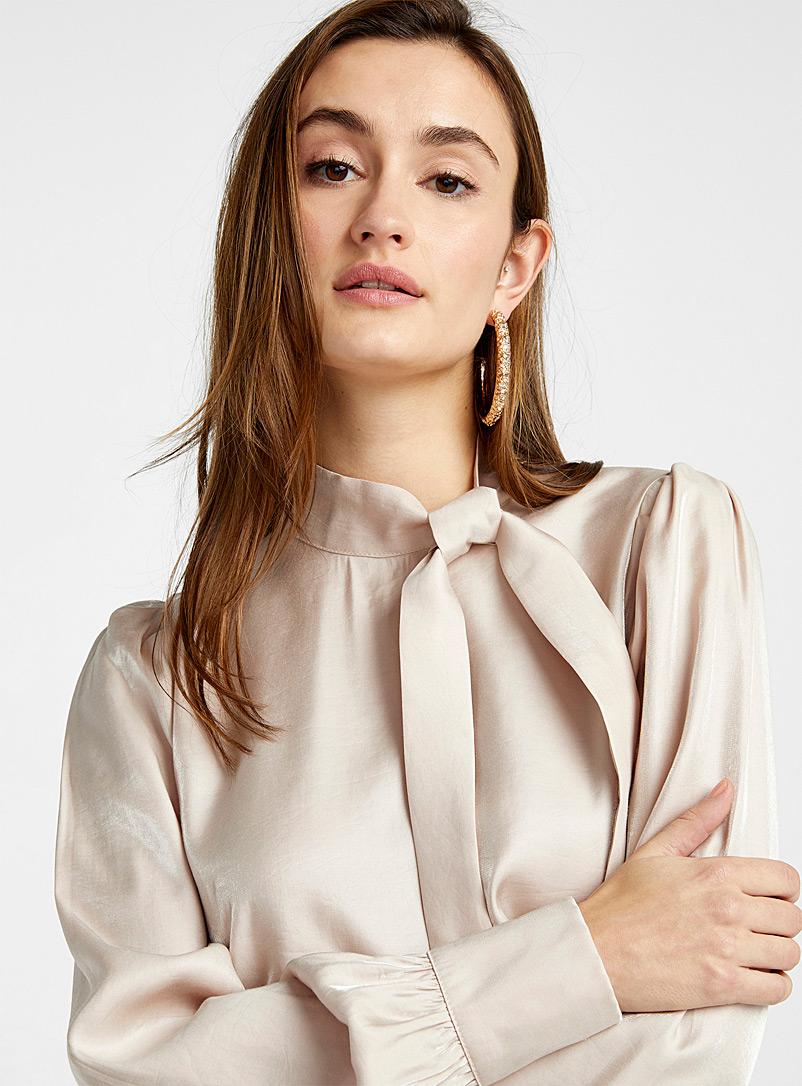 ICHI Ivory White Tie neck shiny satin blouse for women