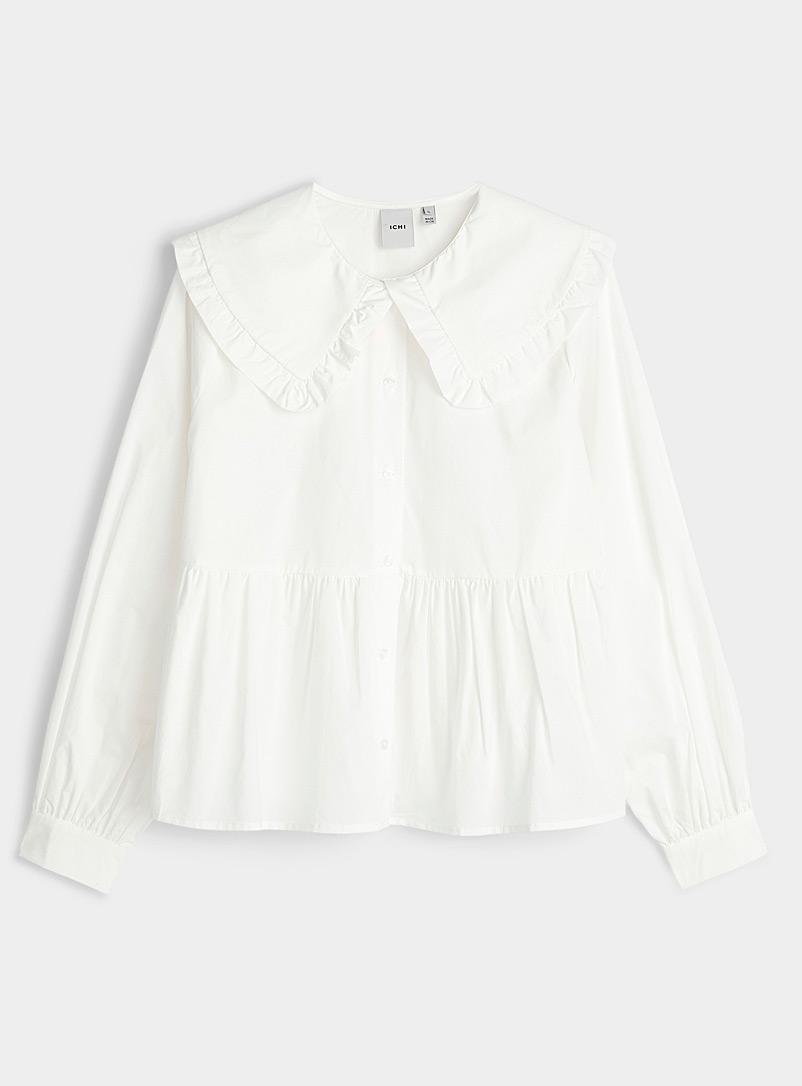 ICHI White Poplin Peter Pan collar shirt for women