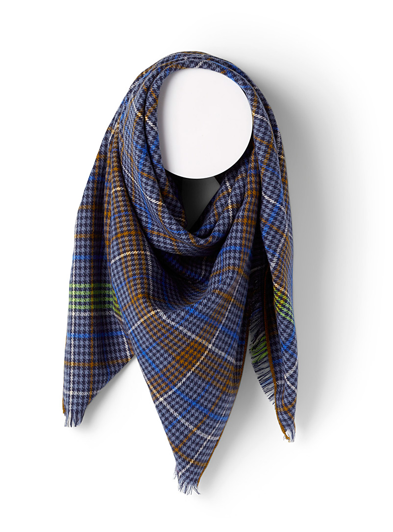 ICHI Patterned Blue Colourful houndstooth scarf for women