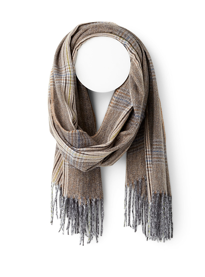 ICHI Patterned Brown Earthy weft scarf for women