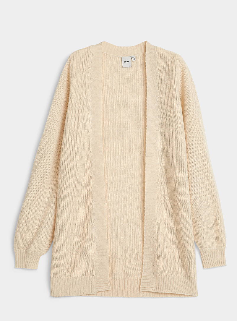 ICHI Cream Beige Oversized-sleeve cardigan for women