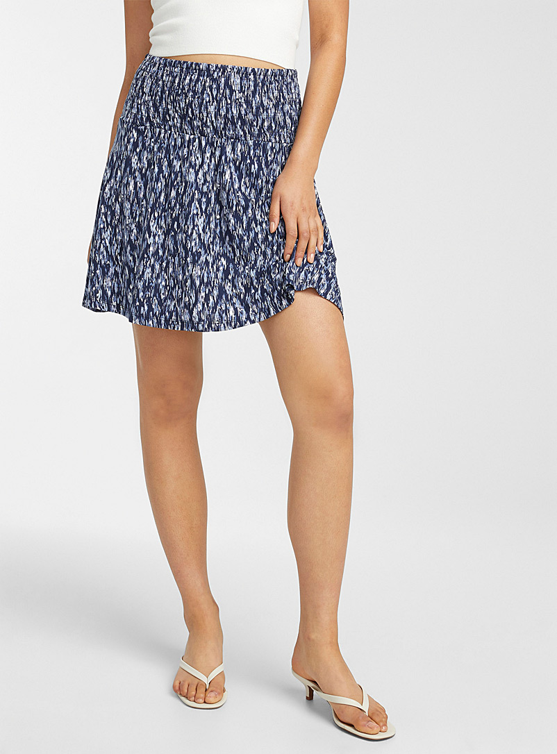 ICHI Patterned Blue Eco-friendly viscose jersey skirt for women
