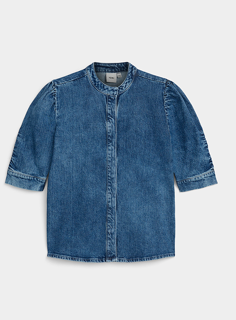ICHI Blue Puff-sleeve denim blouse for women