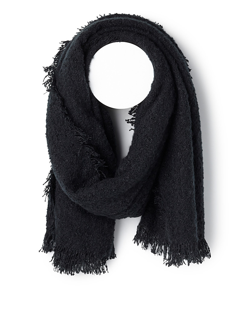 ICHI Black Bouclé weave scarf for women