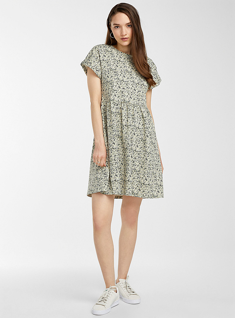 ICHI Patterned Green Sage green floral dress for women
