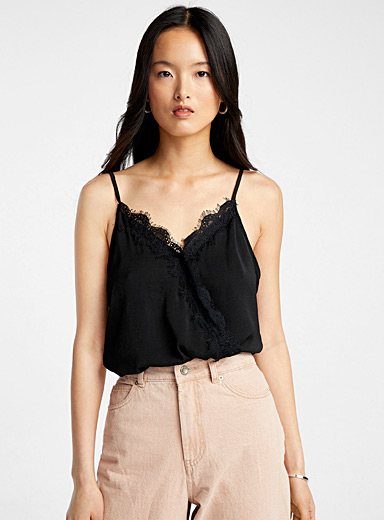 Lace-trimmed crossover bodysuit