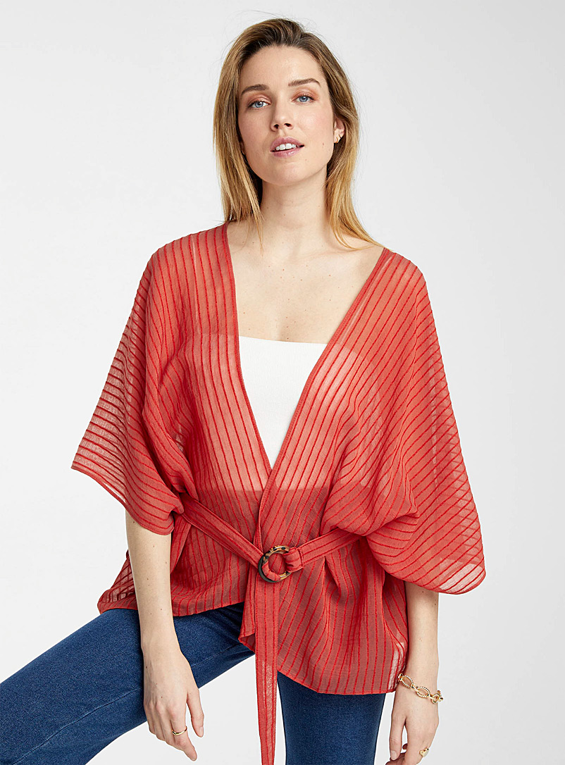 ICHI Copper Belted saffron kimono for women