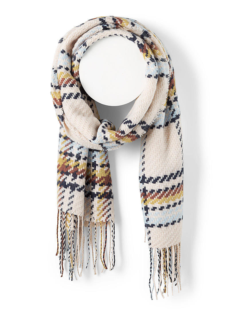 ICHI Pearly Faux-topstitch check scarf for women