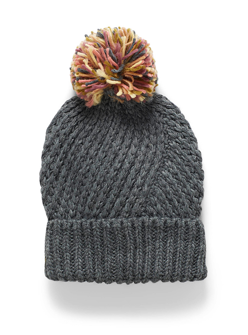 ICHI Grey Pompom and diagonal cable tuque for women