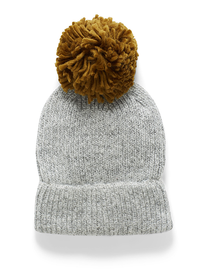 ICHI Light Grey Fluffy knit pompom tuque for women
