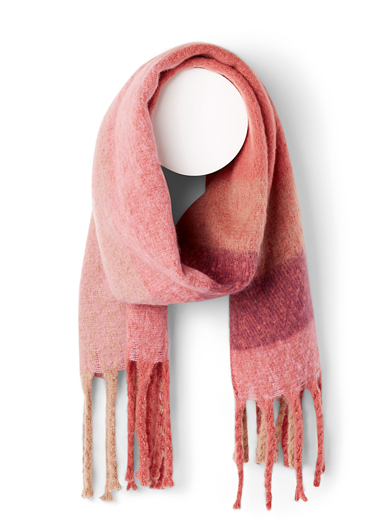 ICHI Assorted pink  Ombré check blanket scarf for women