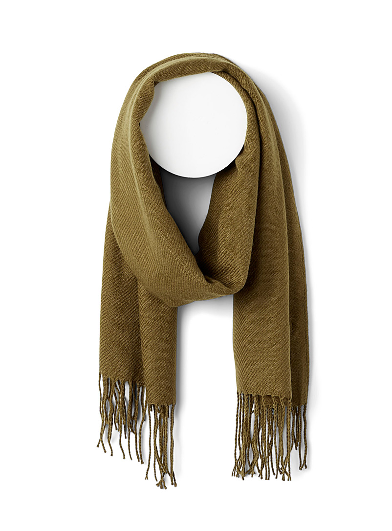 ICHI Mossy Green Fringed solid scarf for women