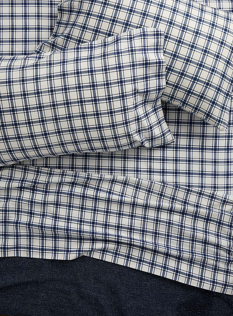 Simons Maison Blue Check organic cotton flannel sheet set