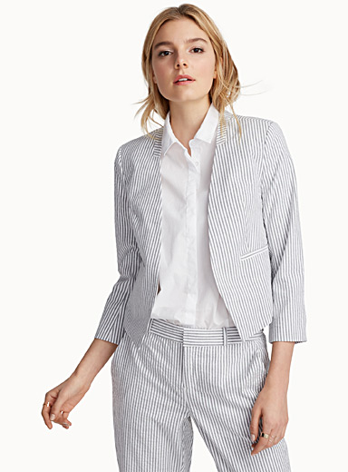 Seersucker cropped jacket