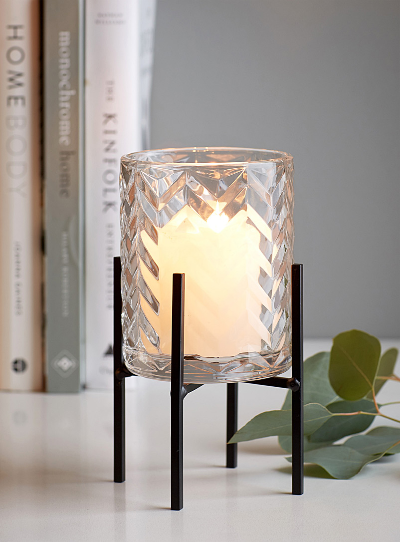 Embossed chevron candle holder - Stylish Objects & Decor Accents - Black