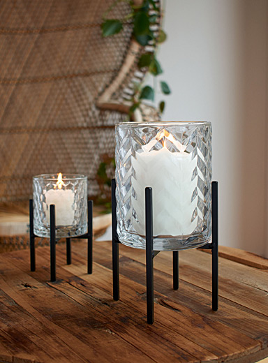 Large embossed chevron candle holder