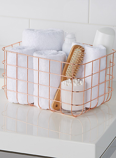 Large rose gold metal basket