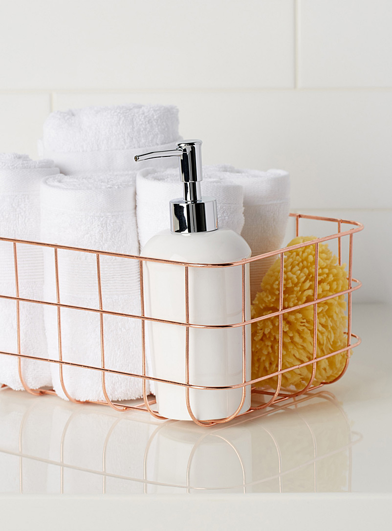 Rose gold metal basket simons maison shop bathroom for Rose gold bathroom accessories sets