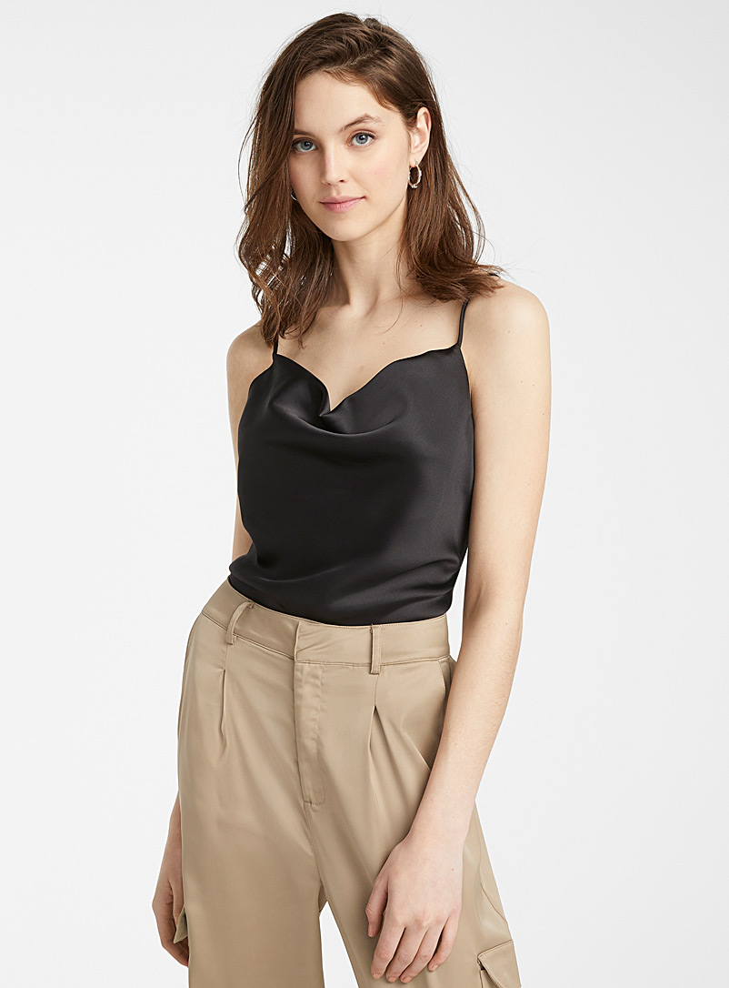 Icône Black Draped-neck satin cami for women