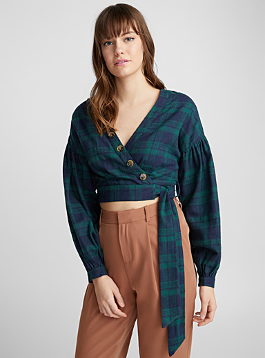 Cropped green check blouse