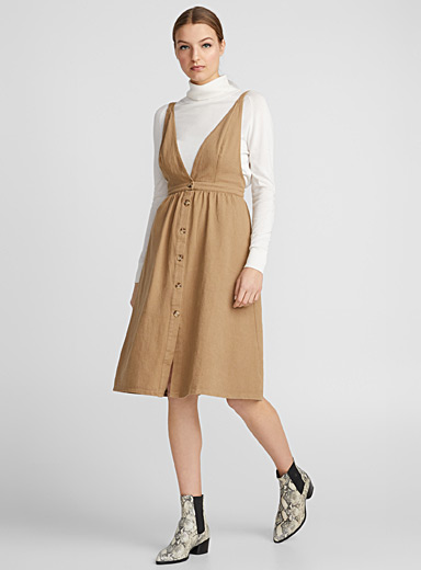Buttoned twill dress